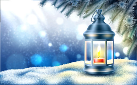 Vector christmas, new year holiday poster, banner background with lantern on snow near winter frozen, icy spruce tree branches on blurred winter background with snowflakes. Fantasy atmosphere