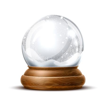 Snowglobe di natale di vettore su priorità bassa isolata. Realistico cristallo di decorazione tradizionale vacanza invernale con neve, fiocchi di neve all'interno. Giocattolo magico di natale, sfera vuota, illustrazione 3d Vettoriali
