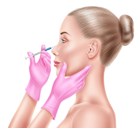 Vector liposuction surgery doctor hand and syringe Illustration