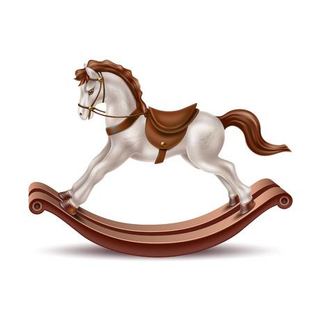 Cavallo a dondolo realistico di vettore, giocattolo in legno color marmo perla vintage per bambini, regalo di Natale. Retro gioco di equitazione per neonati, antico simpatico animale con sella. Illustrazione 3D Vettoriali