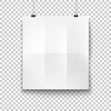 Vector white blank hanging paper, placard for poster, banner advertising design. Empty sheet, billboard, office meeting presentation mockup. Transparent background illustration