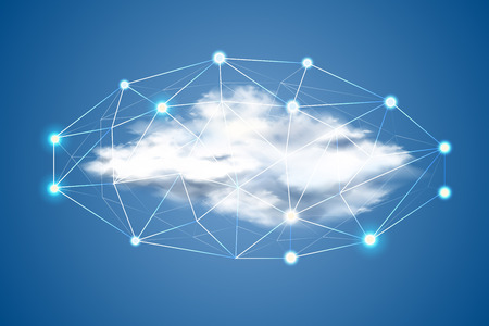 Cloud computing concept with realistic cloud with polygonal dot network. Artificial intelligence machine learning and data science in data storage Digitalization in server systems. Vector illustration  イラスト・ベクター素材