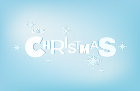 Merry christmas lettering inscription in papercut style. Xmas holiday typography with snowflakes on blue background. Traditional winter greeting card, invitation or poster element. Vector illustration Illusztráció