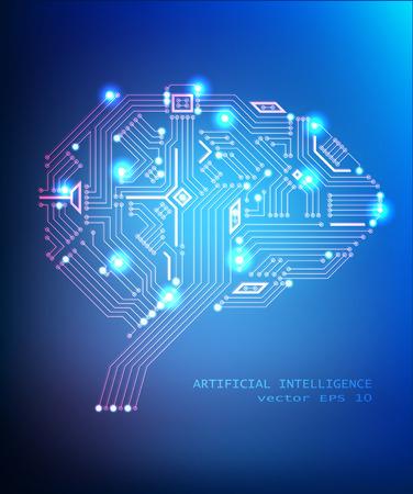 Vector digital circuit brain concept on blue