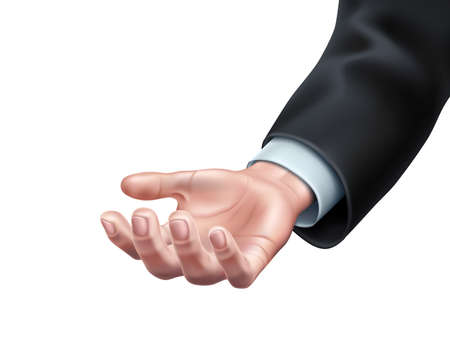 Businessman hand in suit with open palm holding something. Concept of show, special offer or implementation of innovative technologies. Realistic vector hand proposing solution Illusztráció