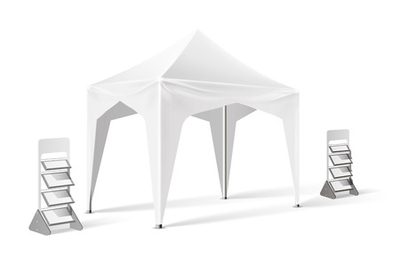 Outdoor exhibition tent, product presentation pop-up marquee mockup with product display shelves. Mobile company promotion pavilion, point-of-sale temaplte. Vector illustration for corporate identity Illusztráció