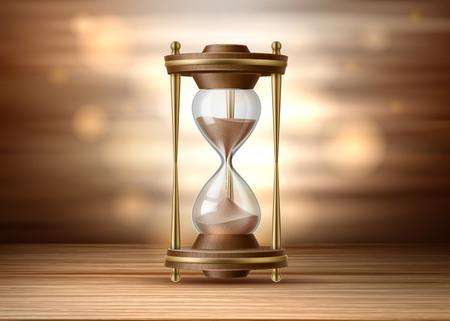 Sablier réaliste. Sablier de vecteur sur fond marron. Horloge vintage debout sur une surface en bois. Objet intérieur classique 3D, symbole de la gestion du temps. Illustration détaillée
