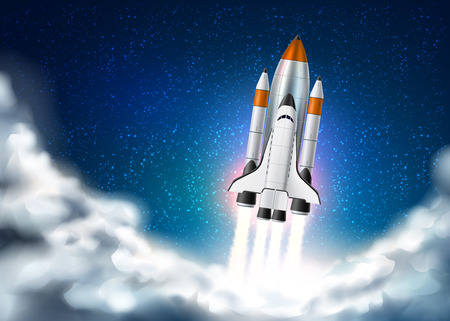 Space shuttle takeoff with fire from engines on night star sky with clouds background. Realistic rocket launch. Space exploration, product or start-up launch, innovation concept. Vector illustration