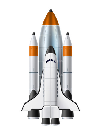 Space shuttle realistic mockup. Spacecraft with rocket engines. Symbol of technology, innovation and launching new product or start-up. 3d spaceship vector illustration on isolated background