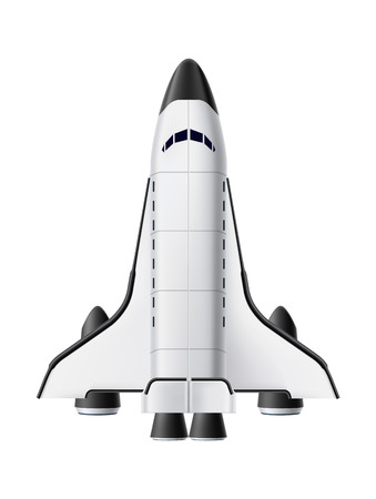 Space shuttle realistic mockup. Spacecraft. Symbol of technology, innovation and launching new product or start-up. 3d spaceship vector illustration on isolated background