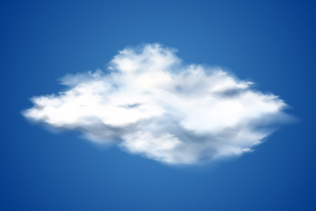 Realistic white cloud on blue background. Transparent sky objects for weather forecast and environment design. Cloud computing, online data storage decoration. Natural cloudscape element. Vector