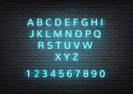 Neon alphabet on dark brick wall background. Retro glowing letters, numbers for nigh club, bar or vintage cafe signage design. Vector electric lamp style type for casino, nightlife entertainment Illustration