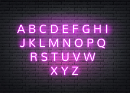 Neon alphabet on dark brick wall background. Retro glowing letters for nigh club, bar or vintage cafe signage design. Vector electric lamp style type for casino, nightlife entertainment decoration
