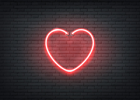 Neon heart signage on dark brick wall background. Retro signage for night clubs, casino or entertainment events. Strip bar or nightlife show glowing sign. Vector illustration