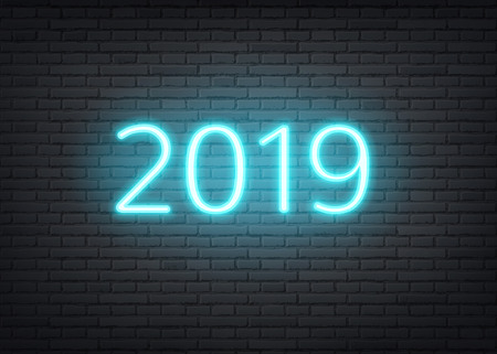 2019 neon new year holiday background with glowing numbers on dark brick wall background. Retro style winter celebration decoration for entertainment clubs, invitations. Vector illustration  イラスト・ベクター素材