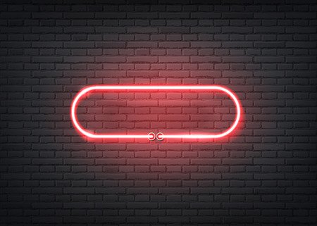 Neon entrance signage on dark brick wall background. Retro signage for night clubs, casino or entertainment events. Bar or nightlife show glowing sign. Vector illustration  イラスト・ベクター素材