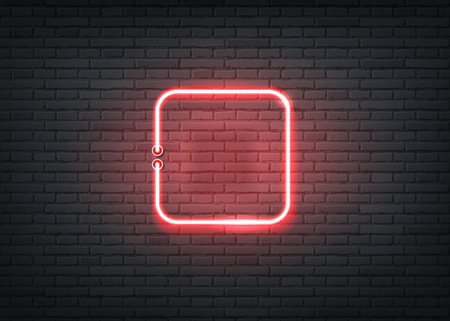 Neon square signage on dark brick wall background. Retro signage for night clubs, casino or entertainment events. Bar or nightlife show glowing sign. Vector illustration