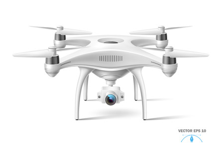 Realistic air drone with camera. Unmanned aircraft system. Quad copter white mockup. Modern remote technology equipment for transportation, delivery surveillance and video filming. Vector illustration