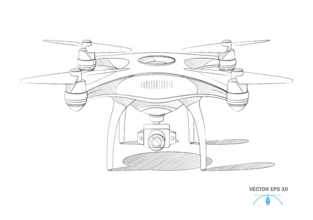 Realistic air drone with camera. Unmanned aircraft system. Quad copter white mockup. Modern remote technology tool for delivery, surveillance and video filming. Vector sketch drawing illustration Illusztráció