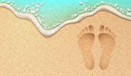 Plage sable empreinte océan côte mer azur vague avec bulle. Illustration réaliste de vecteur. Voyage tropical, modèle d'arrière-plan du paradis de vacances de vacances d'été. Pas humains sur le rivage