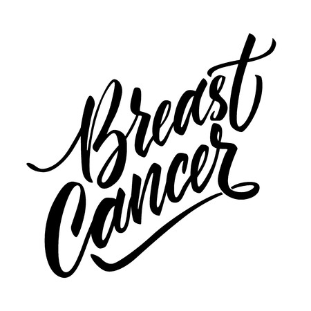 Breast cancer lettering, calligraphy inscription made by black ink. Women health care support symbol, breast caner awareness sing for clinic poster, banner vector design