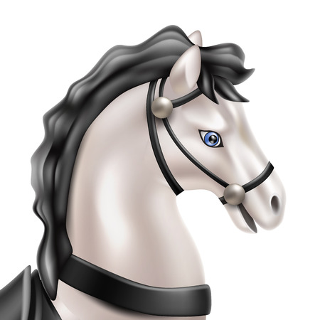 Vector horse realistic toy with black tail and mane head closeup. Pearl marble grey stallion or gelding doll for babies, boys and girls kids fun. Animal toy for games, birthday, christmas present