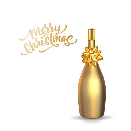 Merry christmas lettering with realistic golden champagne bottle with gold bow. Gold wrapping bottle, new year, xmas winter holiday celebration decoration vector design. Isolated illustration Çizim