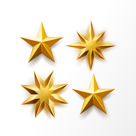 Golden star set. Vector realistic ranking symbol, top award, shiny medal object. Christmas tree decoration, symbol of success, achievement. Bright luxury sharp shape, isolated illustration