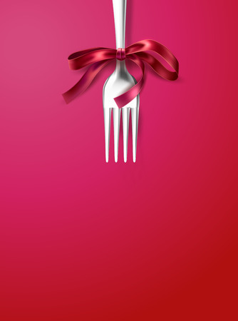 Vector silver fork with red ribbon bow. Festive dinner, breakfast of holiday celebration cutlery. Realistic cafe menu tableware for christmas, valentines day or birthday decoration Illusztráció