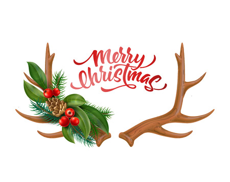 Merry christmas lettering with reindeer horns with silk bow holly leaves, red berries spruce tree twigs, and pine cones pattern. Vector xmas, new year holiday celebration poster, greeting card design Illusztráció
