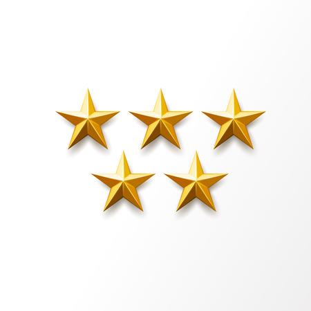 Goldener Stern eingestellt. Vektorrealistisches Rangsymbol, Top-Auszeichnung, glänzendes Medaillenobjekt. Christbaumschmuck, Symbol für Erfolg, Leistung. Helle, luxuriöse, scharfe Form, isolierte Illustration Vektorgrafik