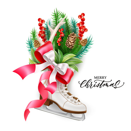 Merry christmas lettering with evergreen spruce, fir tree branches and red bow in white ice skate. Vector xmas, new year holiday celebration design, seasonal sale, discount advertising