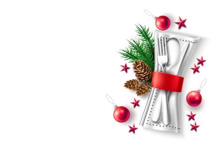 Cuillère de table de fête, couteau à fourchette, serviette avec branche d'épinette à ruban rouge, pomme de pin, étoile rouge, jouet de balle. Restaurant de vacances de Noël, conception de menu de café, invitation, vecteur de carte de voeux