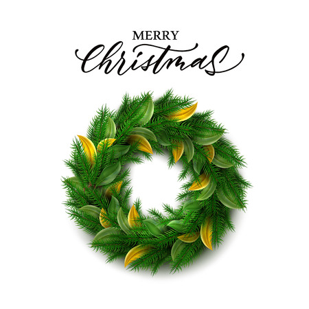 Vector merry christmas lettering inscription near wreath. Xmas, new year holiday decoration with holly green and golden leaves, pin spruce or fir branches. Traditional party, greeting card decoration