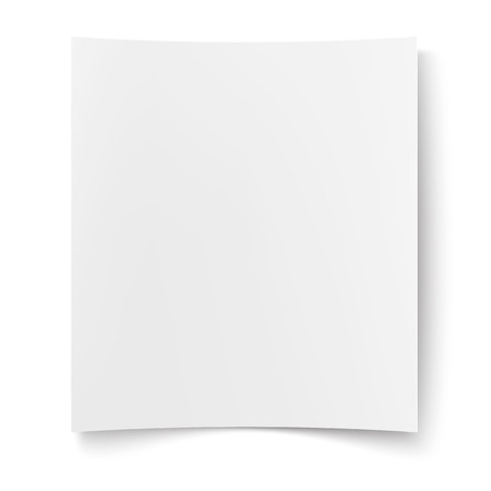 Blank white paper. Empty poster, placard, web banner mockup. Realistic copy space background template, business booklet, document backdrop. Isolated illustration