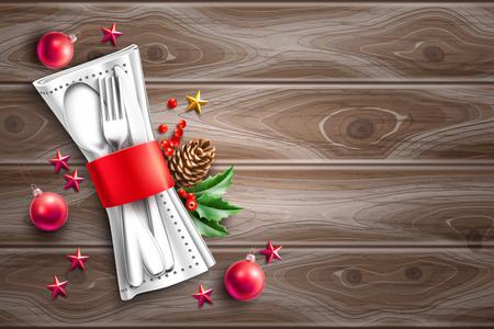 Cuillère de table à dîner festive, couteau à fourchette, serviette avec branche d'épinette à ruban rouge, pomme de pin, étoile rouge, jouet boule sur bois. Restaurant de vacances de Noël, menu de café, invitation, vecteur de carte de voeux