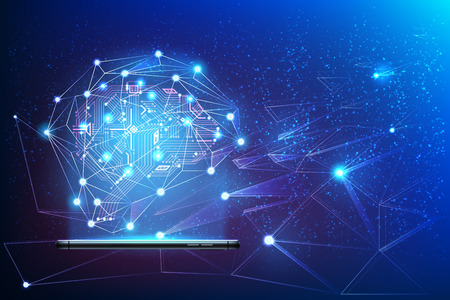 Digitaal circuitbrein met neuraal netwerk rond afkomstig van smartphone. Big data kunstmatige intelligentie concept. Machine learning geavanceerde analyse poster Moderne technologie, vector ai achtergrond