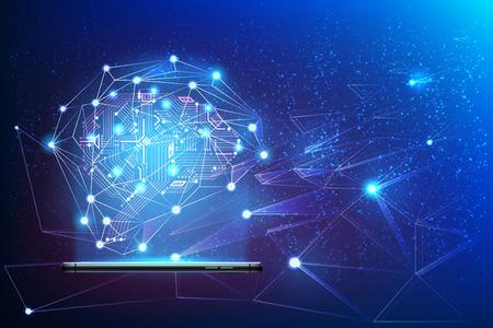 Digitales Schaltkreisgehirn mit neuronalem Netzwerk, das vom Smartphone kommt. Big-Data-Konzept der künstlichen Intelligenz. Machine Learning Advanced Analytics Poster Moderne Technologie, Vektor-AI-Hintergrund