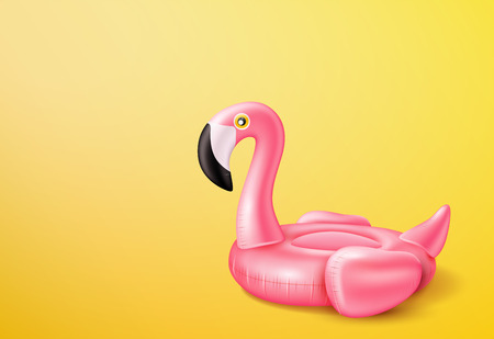 Vector realistic 3d pink flamingo, tropical bird shape inflatable swimming pool ring, tube, float. Summer vacation holiday rubber object, traveling, beach Illustration on yellow background