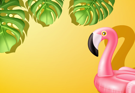 Vector realistic 3d pink flamingo, tropical bird shape inflatable swimming pool ring, tube, float with exotic leaves. Summer vacation holiday rubber, traveling, beach Illustration on yellow background