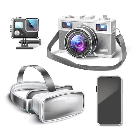 Virtual reality headset, action and vintage camera, smartphone realistic mockup. Modern technology gadget set. Detailed vector VR mask, innovative device for entertainment Illusztráció
