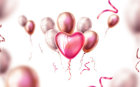 Valentines day, wedding or marriage background. Realistic heart shape balloons with silk ribbons on blurred baloons backdrop. Spring holiday decoration. Invitation card, celebration party design
