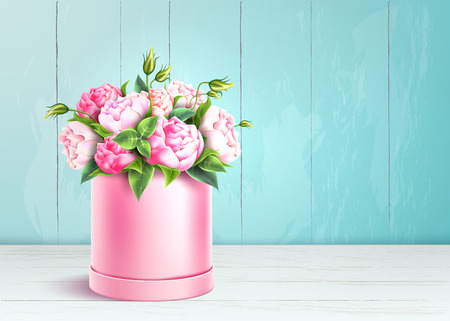 Elegant rose box on wooden wall background. Luxury flowers bouquet for valentines day, international women day, 8 of march holiday. Romantic wedding, marriage celebration element. Vector illustration Vektoros illusztráció