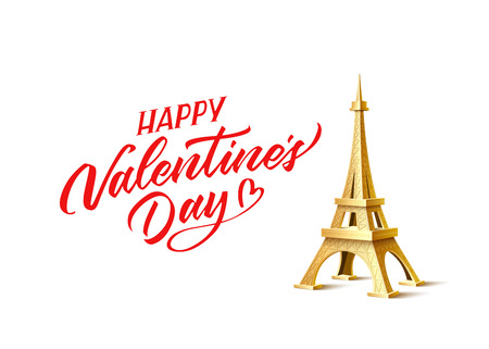 Happy valentines day poster with golden eiffel tower and hand drawn calligraphy script. Vector realistic historical monument, symbol of paris and romantic february holiday lettering.