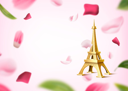 Golden eiffel tower on background of rose flower petals and leaves. Honeymoon, dating invitation design. Realistic historical monument, symbol of paris on floral backdrop. Romantic vector illustration Ilustração
