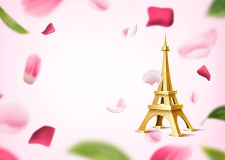 Torre eiffel dorata su sfondo di foglie e petali di fiori di rosa. Luna di miele, design dell'invito per appuntamenti. Monumento storico realistico, simbolo di parigi su sfondo floreale. Illustrazione vettoriale romantica
