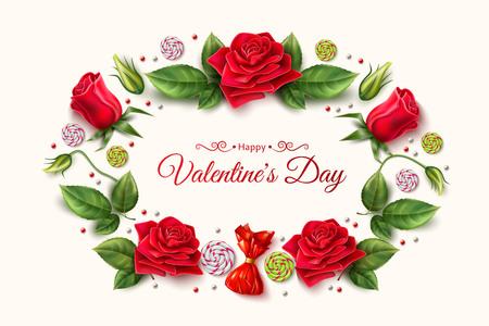 Vector valentine day rose peony tulip flower Illustration