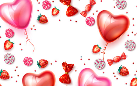 Happy Valentines day poster. Realistic heart shape balloons with strawberry, candies backdrop. Spring holiday decoration. Invitation card, celebration party design. Vector illustration