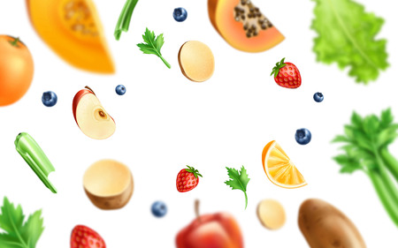 Healthy food pattern. Realistic organic vegetables and fruits from organic shop, farm market background. Broccoli, pumpkin, apple slice strawberry and blueberry, celery and salad orange slice Illustration