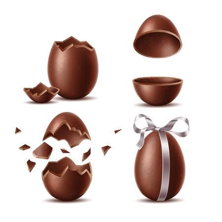 Realistische Schokoladeneier eingestellt. Zerbrochene, explodierte Eierschale, zwei Hälften und ganzes Ei mit Schleife. Süßes Osterferiensymbol. Vektordessert aus dunklem Kakao. Restaurant, Café-Menü, Feierdesign.